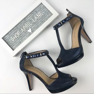 Antonio Melani Jeweled Navy Blue Platform Heels 7